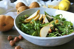 Bosc Pear Salad with Dried Currants and Toasted Hazelnuts