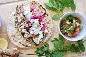 Chicken Gyros with Tomato Salad and Feta