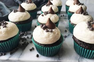 Double Chocolate Cupcakes with Vanilla Frosting