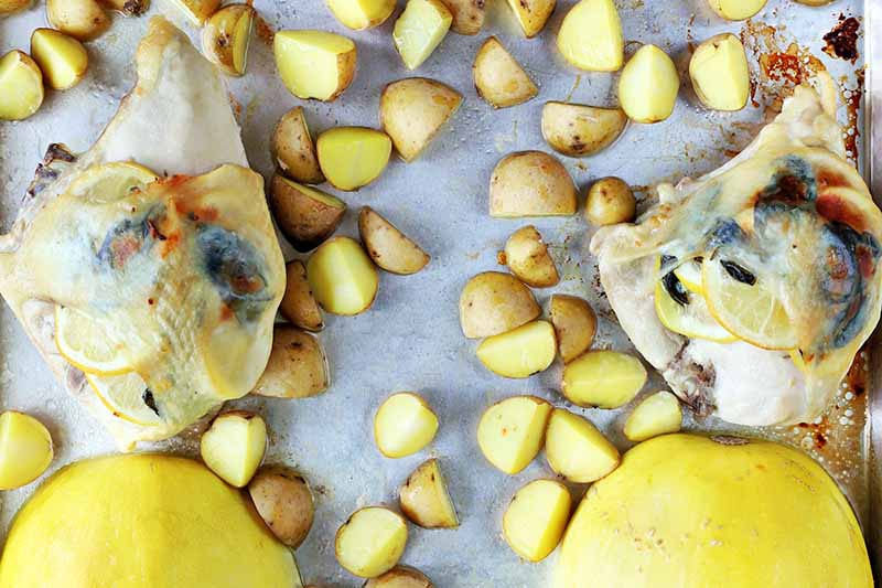 Horizontal image of roasted potatoes, squash, and chicken.