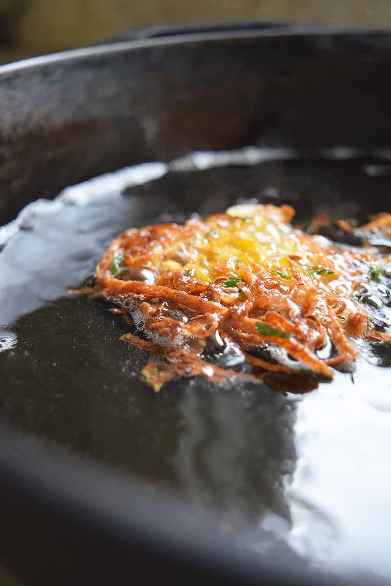 Vertical image of a potato pancake frying in a large cast iron pan of oil.