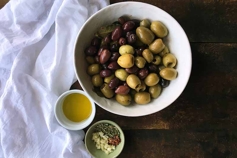 Horizontal image of a bowl of assorted olives next to oil and flavorings on a white towel.