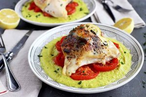 Sheet Pan Roasted Chicken and Tomatoes with Potato Spaghetti Squash Puree