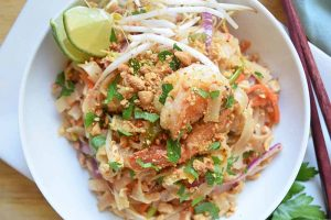 Shrimp Pad Thai with Tamarind and Peanuts