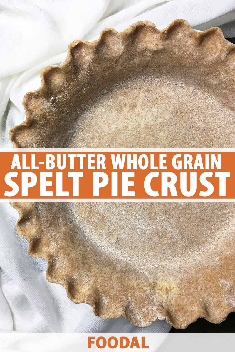 Vertical image of a raw pie crust with crimped edges, with text in the middle and on the bottom.