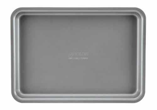 Top-down view of a rimmed Anolon baking pan in graphite, isolated on a white background.