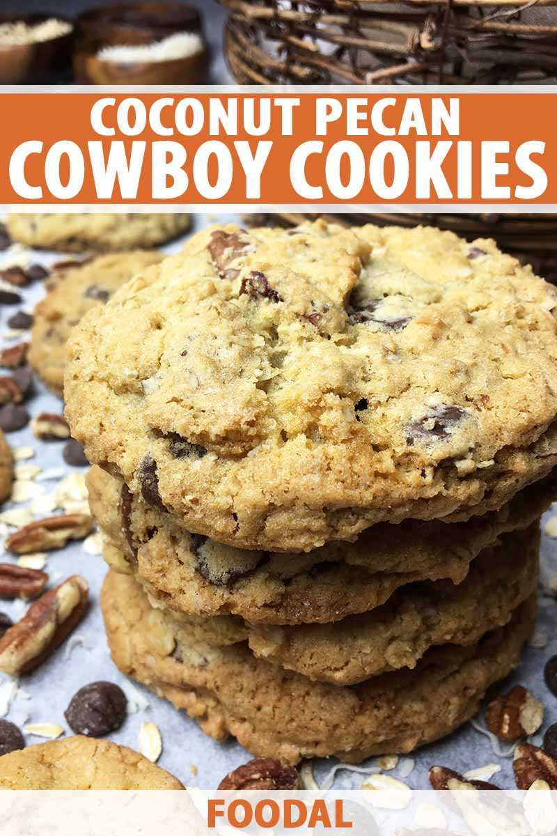 Vertical image of a stack of cookies with pecans, chocolate chips, and oats, with text on the top and bottom of the image.