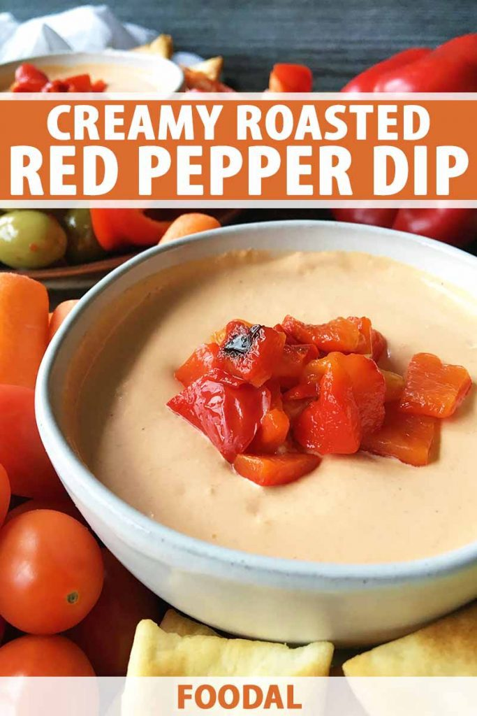 Vertical image of a bowl of dip with a red vegetable garnish, with text on the top and bottom of the image.