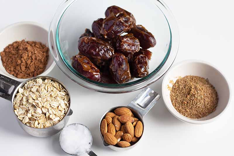 Overhead closely cropped horizontal image of glass and ceramic bowls and metal measuring cups of various sizes filled with cocoa powder, whole dates, ground flax, raw almonds, coconut oil, and uncooked oats, on a white background.