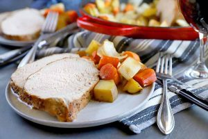 Spicy-Sweet Maple Glazed Pork Roast with Root Vegetables