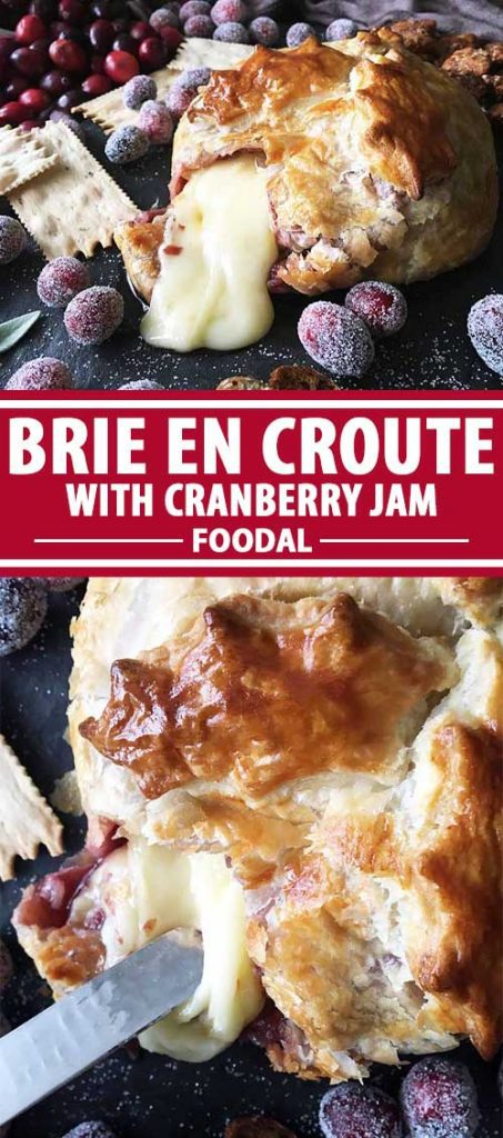 A collage of photos showing different views of Brie en Croute with Cranberry Jam.