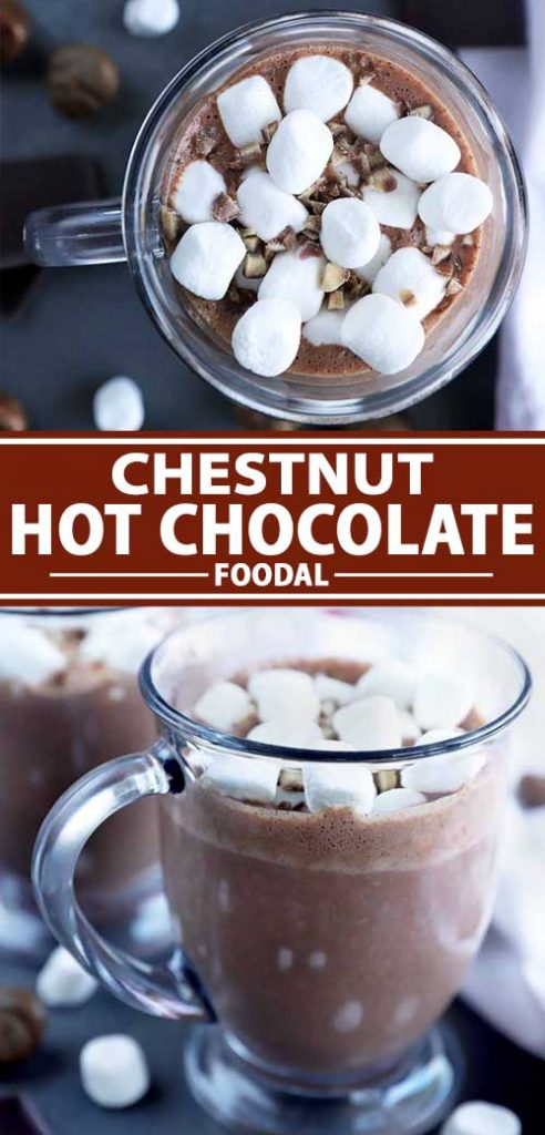 A collage of images showing different views of a chestnut hot chocolate drink.
