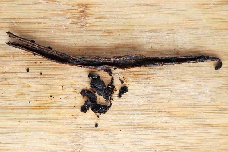 Overhead horizontal image of a vanilla bean and pulp, on a blonde unfinished wood cutting board.