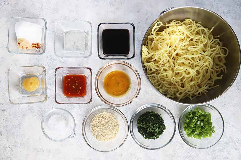 Horizontal image of assorted wet and dry ingredients in square and circle glass bowls, with pasta in a metal bowl.