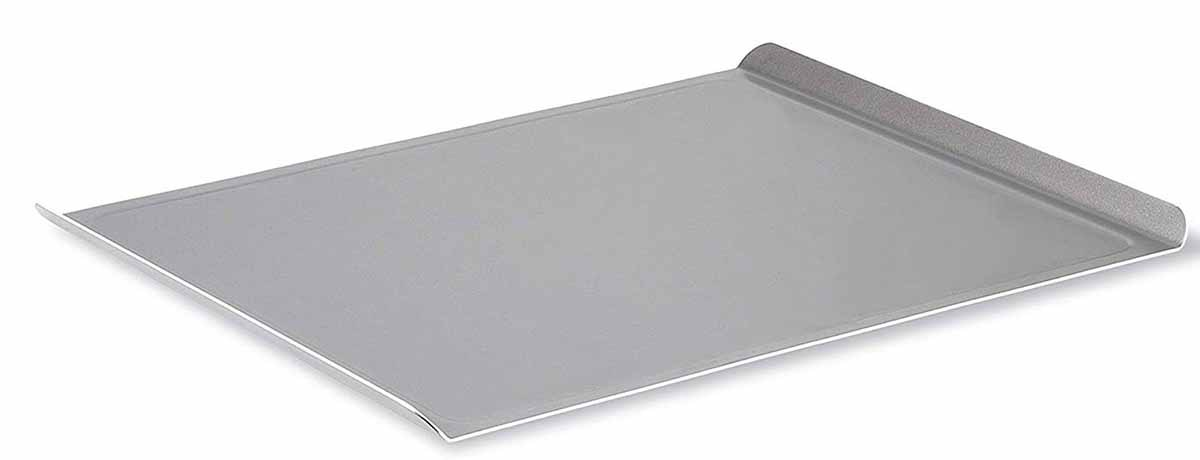 Rimless baking sheet with raised short sides for easy oven removal, isolated on white background.