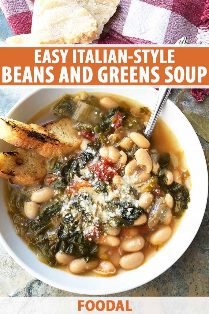 Vertical image of a bowl of greens and beans soup and a spoon, with text on the top and bottom of the image.