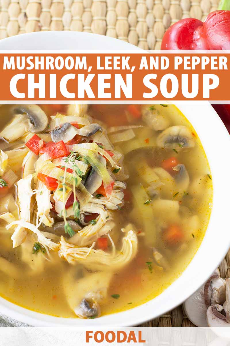 Vertical image of chicken soup with mushroom, pepper, and leeks in a white bowl, with text on the top and bottom of the image.