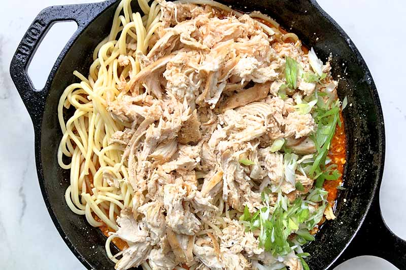 Horizontal overhead image of a cast iron pan of shredded cooked poultry, spaghetti, red sauce, and scallions, on a gray and white background.