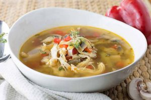Mushroom, Leek, and Red Pepper Chicken Soup