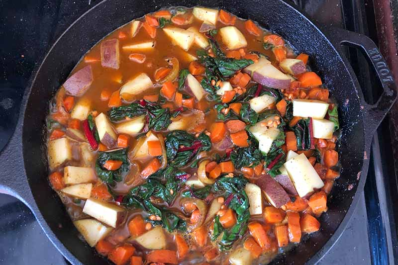 Horizontal image of a mixed vegetable stew in a cast iron pan.