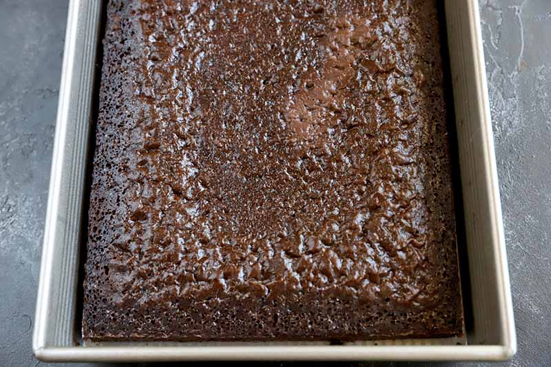 Horizontal image of a chocolate cake baked in a rectangular dish.