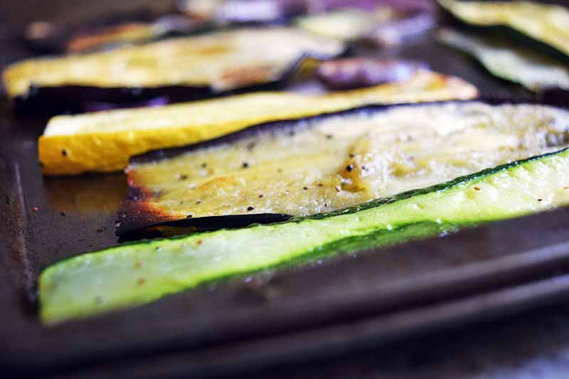 Closeup horizontal image of roasted squash and eggplant on a metal baking pan.