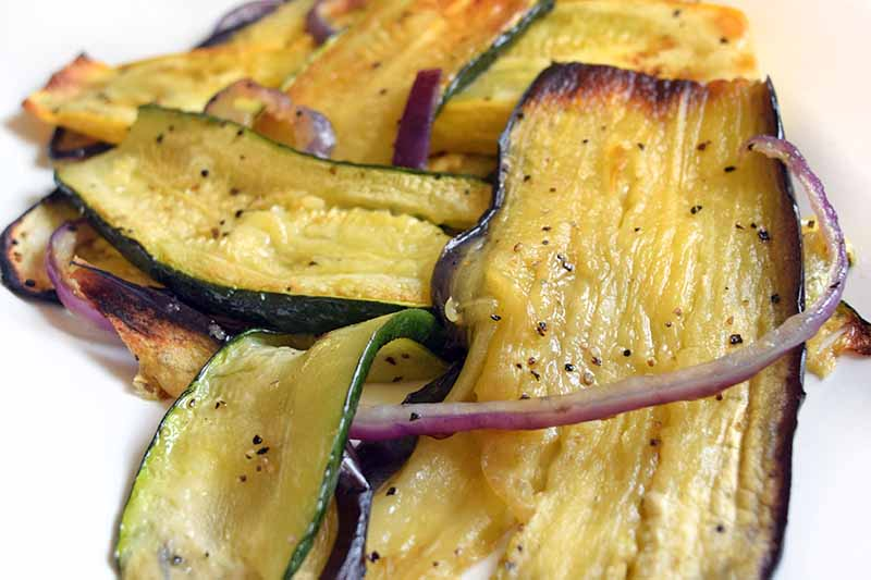Closeup horizontal image of roasted vegetables on a white plate.
