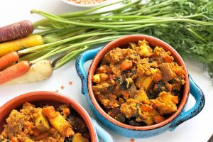 Carrot, Rainbow Chard, and Red Potato Dal (Vegan)