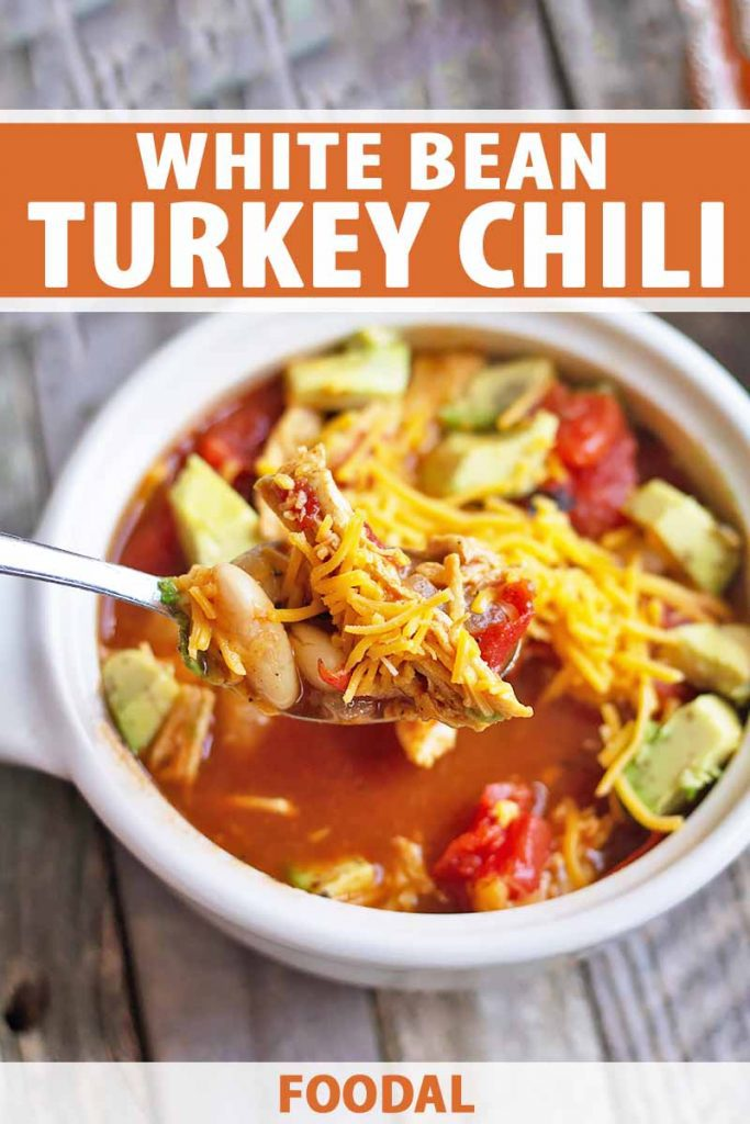 Vertical image of a spoonful of turkey chili garnished with shredded cheese over a white bowl with more chili and avocado cubes on a wooden surface, with orange and white text on the top and bottom of the image.