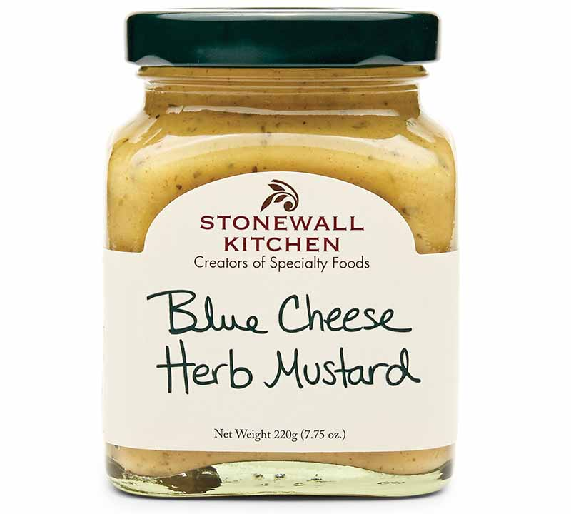 Horizontal image of a jar of Stonewall Kitchen Blue Cheese Herb Mustard