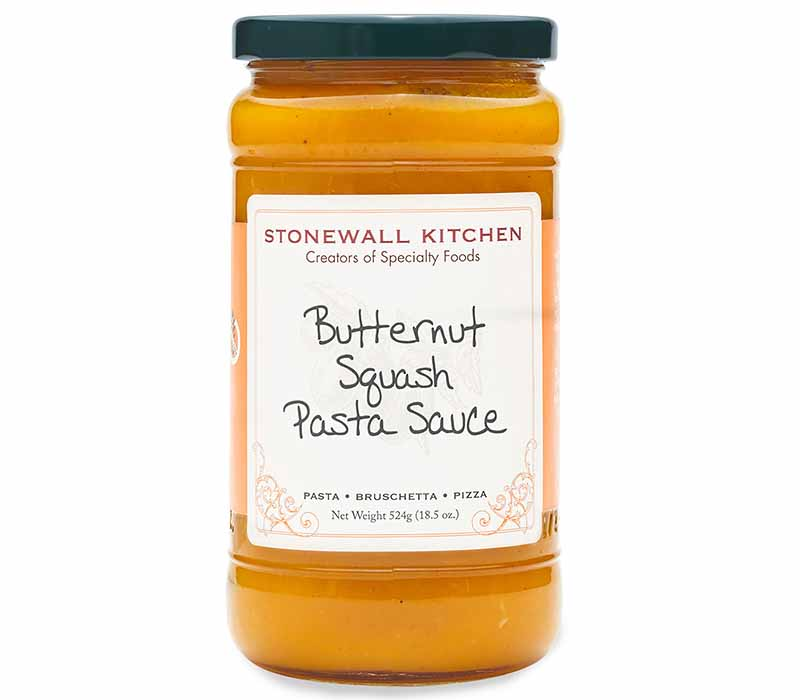 Image of a large jar with an orange Butternut Squash Pasta Sauce.