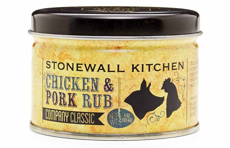 Horizontal image of a canister of Stonewall Kitchen's Chicken and Pork Rub.
