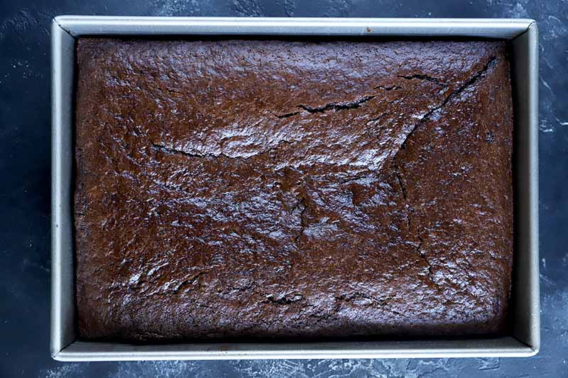 Horizontal image of a pan of a baked dark-colored dessert.