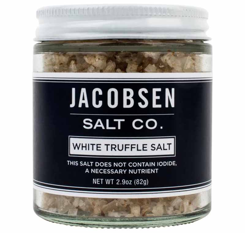 Image of a glass jar with Jacobsen Salt Co. White Truffle Salt.