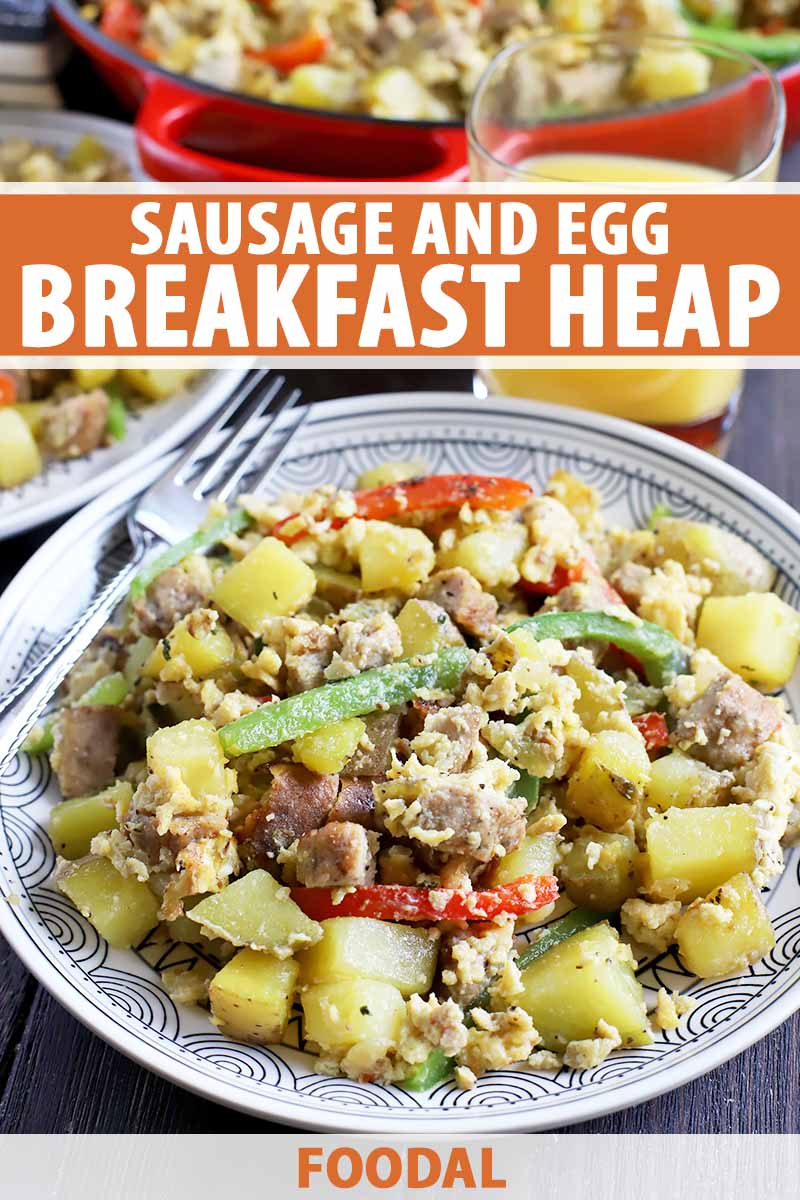 Vertical image of a white patterned plate with a scramble of egg, peppers potatoes, and sausage, with text on the top and bottom of the image.