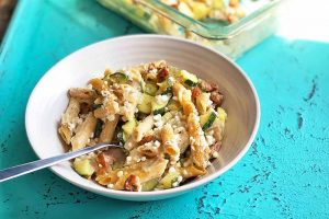 Baked Penne with Sausage, Zucchini, and Feta