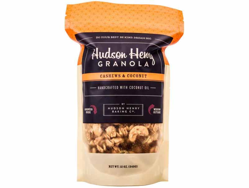 Image of a bag of Hudson Henry Baking Company's cashew coconut granola.