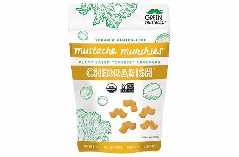 Image of a bag of Green Mustache's vegan cheese crackers.