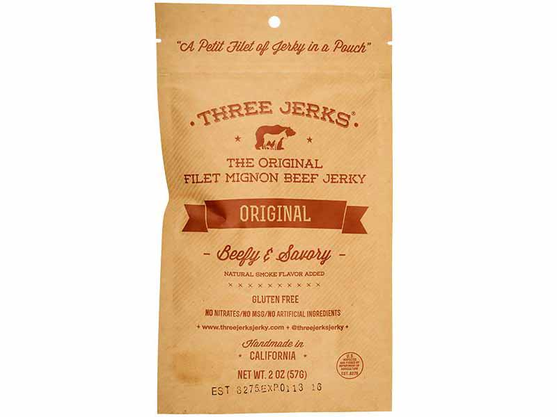Image of a brown bag of Three Jerks' filet mignon beef jerky.