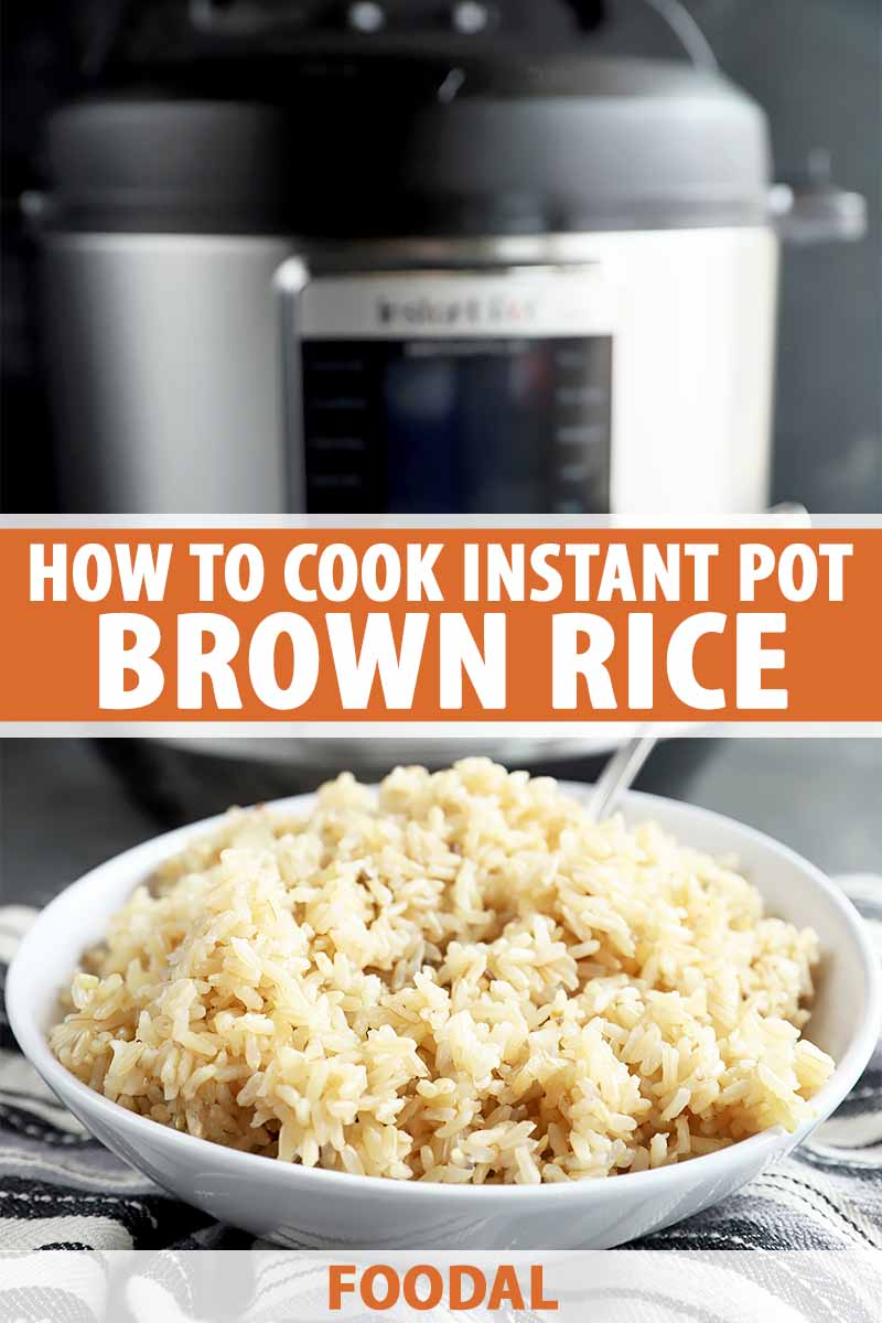 Vertical image of a white bowl filled with brown rice in front of an electric pressure cooker, with text in the middle.
