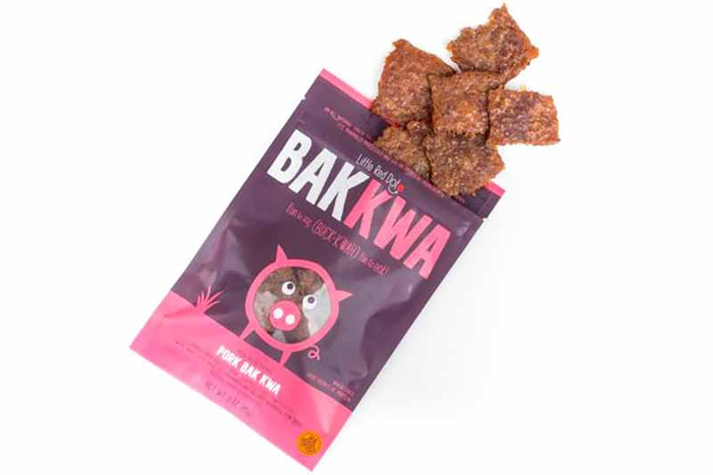 Image of a purple bag with Red Dot's pork bak kwa.
