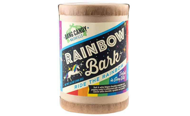 Image of a container of Bang Candy's rainbow bark.