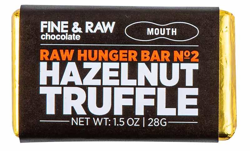 Image of Mouth's raw hazelnut truffle chocolate bar.