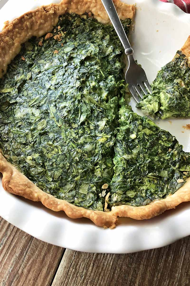 Vertical close-up image of a quiche with greens in a white ceramic dish with a metal fork taking a piece.