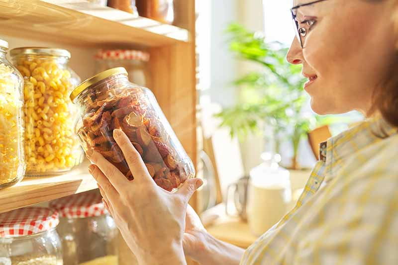 Horizontal image of a woman holding a jar of dried fruit next to wooden shelves.