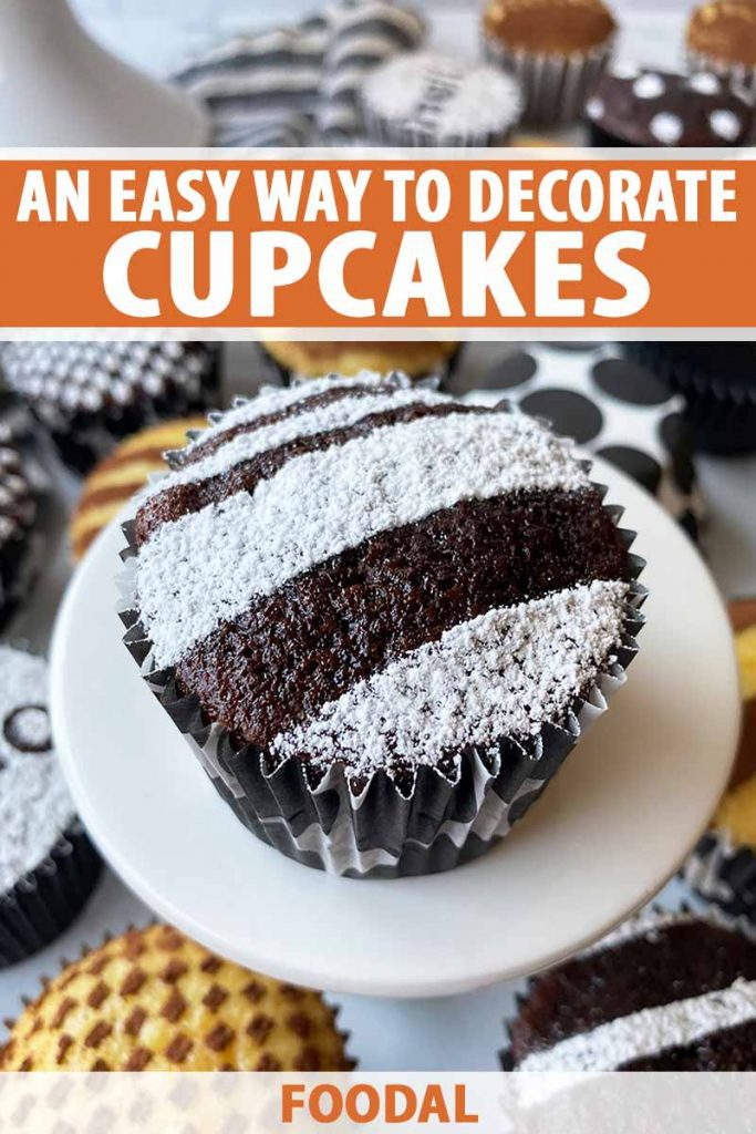 Vertical image of a chocolate cupcake with powdered sugar decorations on a white stand in front of my decorated cupcakes, with text on the top and bottom of the image.