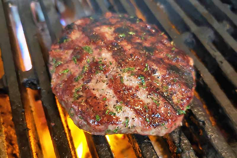 Horizontal image of a seasoned meat patty being grilled.