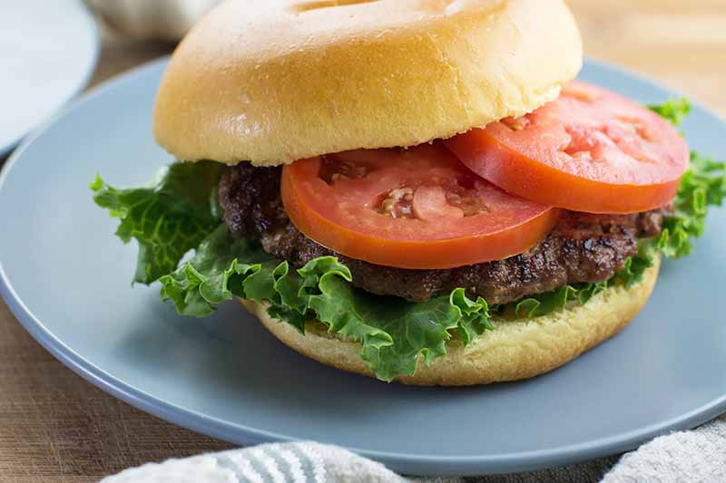 Horizontal close-up image of a sandwich with a golden fluffy bun, two slices of tomatoes, a meat patty, and a leaf of lettuce on a blue plate.