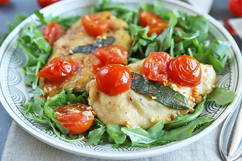 Horizontal image of a plate with greens topped with poultry and tomatoes.