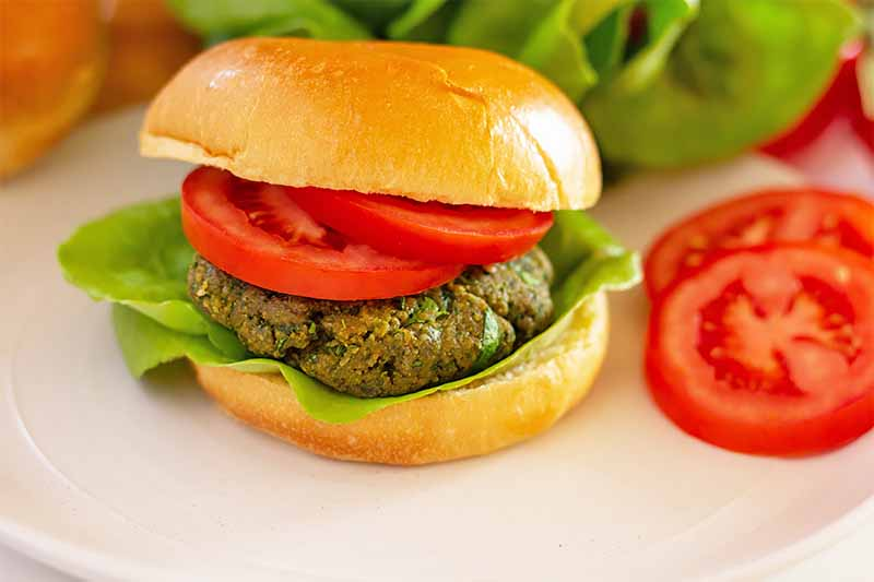 Horizontal image of a whole veggie burger with sliced fresh tomatoes and lettuce on a white plate.